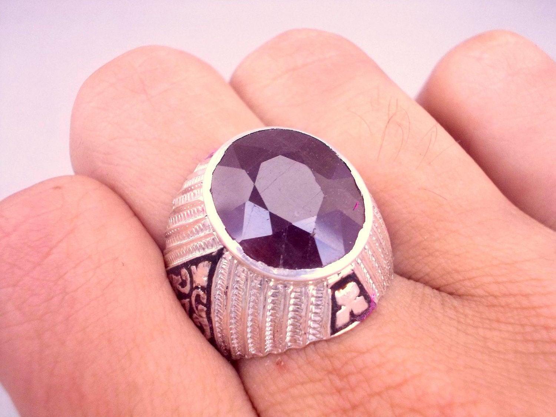 Ruby Ring Ruby Ring Men Silver Ruby Ring Yaqoot US 9