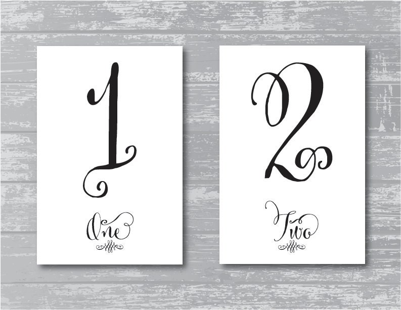 INSTANT DOWNLOAD Swash Wedding Reception Table Numbers 1 10