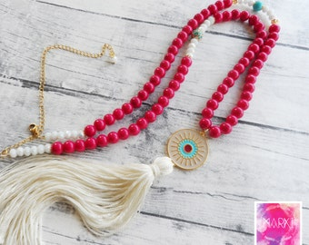 Tassel necklace, Long Boho necklace, Summer necklace, Beaded necklace, Evil eye pendant necklace, Colorful necklace, Enamel necklace, Boho
