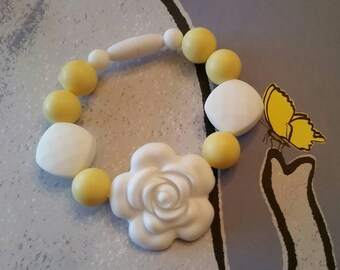 Silicone beaded fidget bracelet, Yellow & White, Focus Bracelet, 100% Food Grade Silicone, Teething Jewelry, Teething Beads, BPA Free