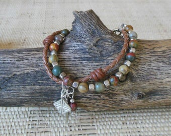 Bohemian Bracelet: Leather/Silver/Picasso Jasper/2 Strand Bracelet/Sundance Style/Gift for Her/3rd Anniversary/Leo Woman Jewelry/OOAK