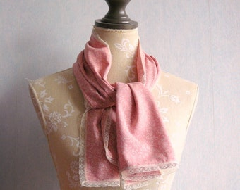 Pink flowers romantic lace scarf, vintage lace all around, pink and beige scarf lace romantic wedding ceremony, wife, daughter
