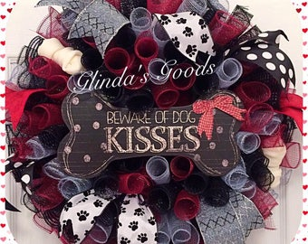 Dog Wreath, Beware of Dog Kisses Wreath, Dog lovers Wreath, Pawprint wreath, Dog Decor, Pet Wreath, Dog Mesh Wreath, Bone Wreath, Dog Door