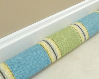 Extra Long Draft Stopper - UPHOLSTERY FABRIC - 28 to 52 inches  - Door Draft Stopper - Door Snake - Blue Green Draft Stopper - Draft Dodger
