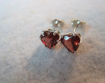 Sale Genuine Garnet Red 6mm Untreated AAA Color Natural India Earth Mined 6mm Heart Gemstone Stud Earrings vvs Clear Solid 925 SS USA