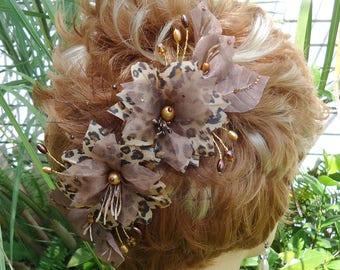 Leopard Fascinator, Wedding Hair Clip, Gold Black Clip, Bridal Hair Clip, REX17384