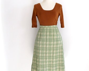 green plaid skirt - 60s vintage light seafoam boucle nubby textured a line mid century high waisted knee length warm winter small medium