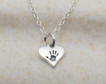 Handprint on Your Heart Necklace Sterling Silver Dainty Heart Charm Hand Print Pendant Cable Chain