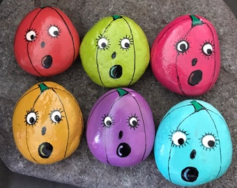 Set: 6 Colorful Pumpkins Painted Rocks, Garden Stones, Art, Fall Home Decor, Collectible & Gift @MoonRocksArt --ONLY 3.00 EACH as a Set