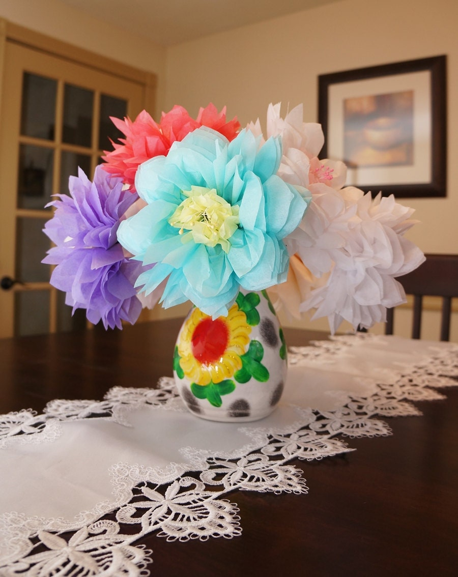 Large Tissue Paper Flower With Pearl Stamen Choose Your Own Colors