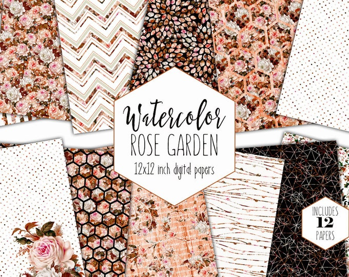 AUTUMN WEDDING FLORAL Digital Paper Pack Commercial Use Backgrounds Peach Rust Watercolor Scrapbook Papers Shabby Chic Brown fall Patterns