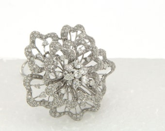 18K White Gold Mandala Clip on Earrings, 6.52 CT with round diamonds and pear shape diamonds