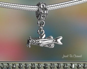 Catfish Charm or European Style Charm Bracelet .925 Sterling Silver