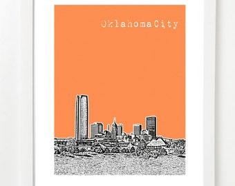 Oklahoma City Art  - Oklahoma City Skyline Print Art Poster - Oklahoma City Skyline - Housewarming Gift -  Version 2