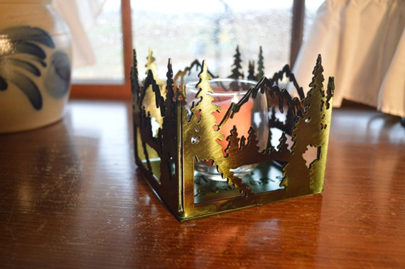 Mountain Scene Votive Candle Holder,Home Accent,Hostess Gift,Housewarming Gift,Gift for Her,Table Accent,Home Decor