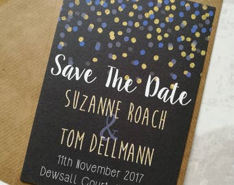 Blue and Gold Confetti Save The Date