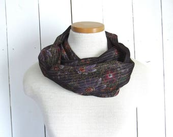 Fabric Scarf Retro Floral Infinity Scarf Eco Friendly Vintage Sheer Fabric Cowl Purple Metallic