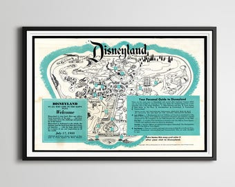 "Vintage 1955 DISNEYLAND Park Brochure Poster! (24"" x 36"" or Smaller) - Opening Year - Fantasyland - Tomorrowland - Frontierland - Disney"