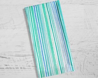 Aqua + Mint Striped Towel |  Aqua + Mint Dish Towel | Kitchen Towel | Watercolor Stripes | Mint | Aqua | Tea Towel | Dish Towel | Dishcloth
