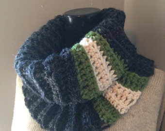 Charcoal Gray Cowl, Chunky Scarf, Green and Ivory striped Grey Neck Warmer