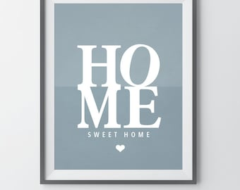 Mid Century Home Sweet Home Print Entrance Wall Art Home Decor Print New  Home Gift