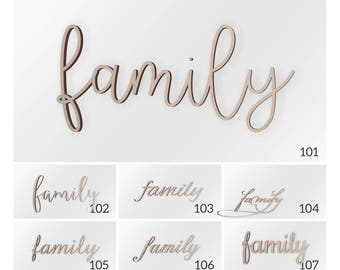 """Wooden Wall Decor Word """"family"""", Family Sign, Wooden Sign, Wall hanging, Wooden Word, Wall decor, Famliy Wall Sign, Wall Word"""