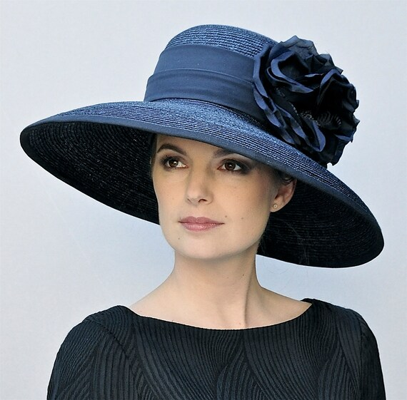Kentucky Derby Hat, Wedding Hat, Navy Hat, Derby Hat, Church Hat, Audrey Hepburn Hat, Formal Hat, Occasion Hat Mother of Bride Hat,