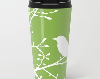 Bird on Twigs Metal Travel Mug - Green Stainless Steel Travel Mug With Lid - Gift For Women - Aldari Home