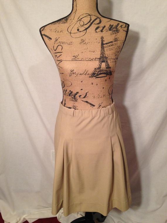 Knit Ins Tan Pleated Skirt Size 11/12 1980s Sale B11