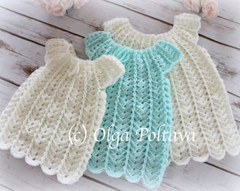 Shells Baby Dress Crochet Pattern, Sizes 0-3, 3-6, 6-12 Months, Easy to Make, Instant PDF Download