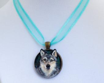 "Handmade Wolf Dog Pendant Necklace Charm 1.25"" Jewelry"