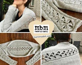 Love Shrug Knitting Pattern with Heart Motif