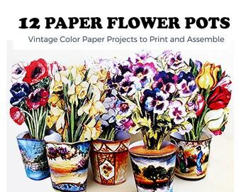 12 Paper Flower Pots - Vintage Paper Craft to Print, Cut and Assemble.