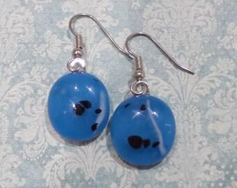 Blue Earrings, Dangle Earrings, Blue Glass Earrings, Hypoallergenic, Fused Glass Jewelry, Blue Jewelry, Ready to Ship - Minnie - 7