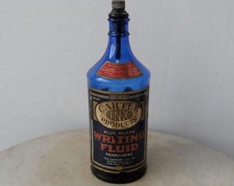 Big CARTER INK BOTTLE Blue Black Writing Fluid Permanent 32 Oz Cobalt Blue Original Cork & Nozzle Great Graphics + Lettering Cap Dated 1893