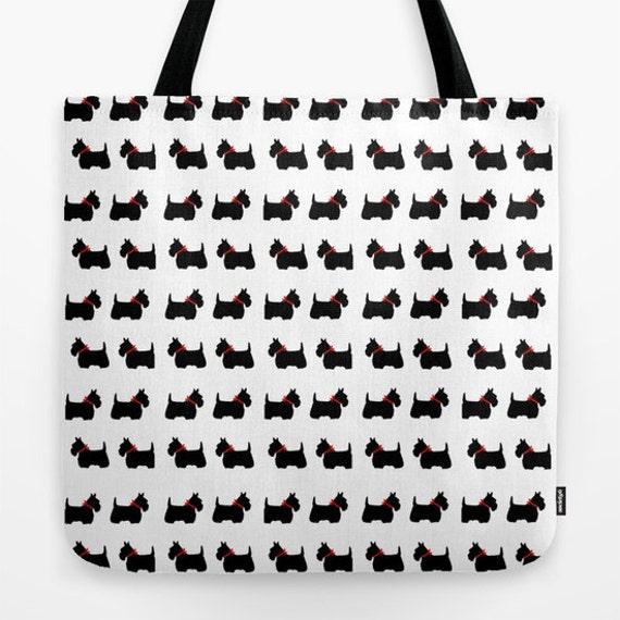 Scotty Dog Tote Bag, 13x13, 16x16, 18x18, Scottie Dog Tote, Beach Tote, Modern Tote, Sexy Tote, Contemporary Tote, Holiday Tote, Black White
