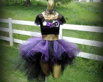 Adult tutu Halloween costume goth gothic witch vampire evil fairy womens costume high low tutu black plum purple tutu skirt