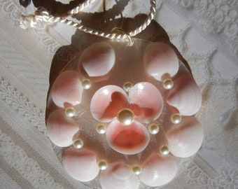 Seashell Holiday Ornament  or Wedding Gift - Pink and Pearl