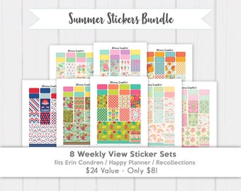 Summer Printable Planner Stickers Bundle for use with Erin Condren and Happy Planner! 8 Weekly Kits!