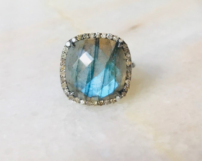 Labradorite Diamond Ring