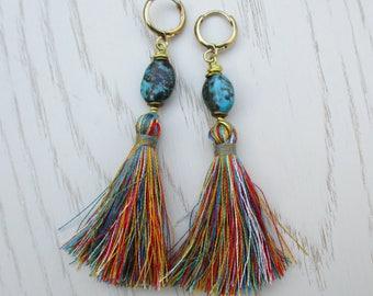 Turquoise tassel earrings, raw brass real turquoise dangle earrings, boho gemstone drop earrings, colorful bohemian hoop leverback earrings