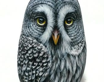 3D Great Gray Owl Hand Painted Stone! Rock Painting Owl, handmade owl Gift, Painted with Acrylics and finished with Gloss varnish protection