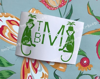 Bamboo Monogram with Monkeys Vinyl Decal | Chinoiserie | Palm Beach | Hollywood Regency
