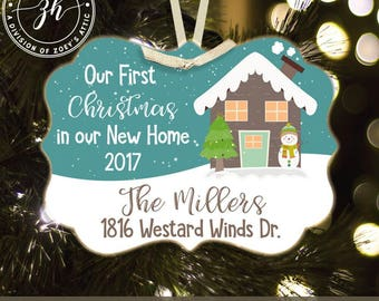 First Christmas new home with snowman personalized metal ornament MBO-003