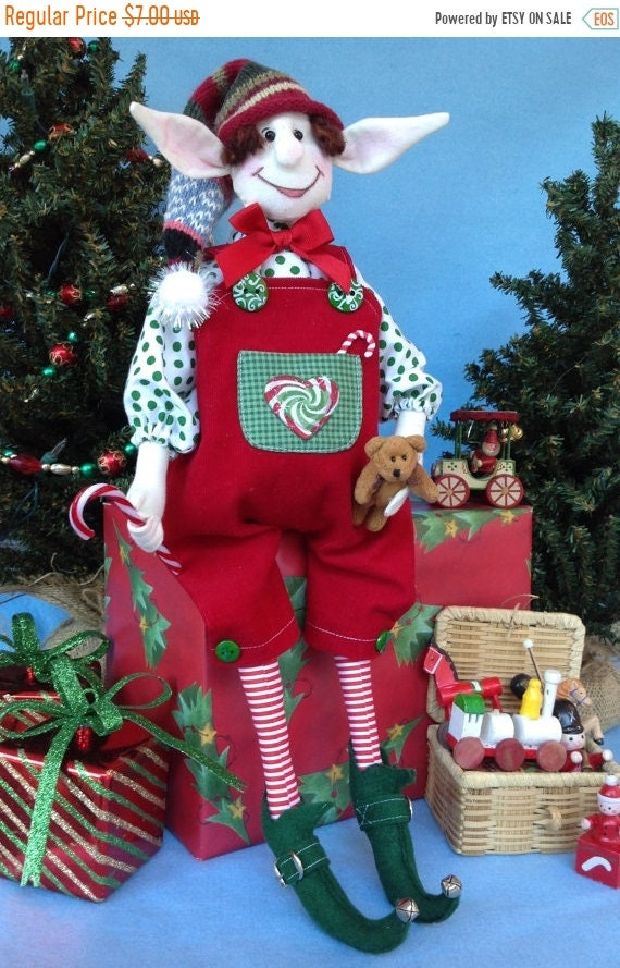 ON SALE Abner - Mailed Cloth Doll Pattern Christmas Boy Elf