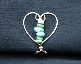 Turquoise Pearl Heart Labien   Non Piercing Intimate Jewelry   Lip Clip