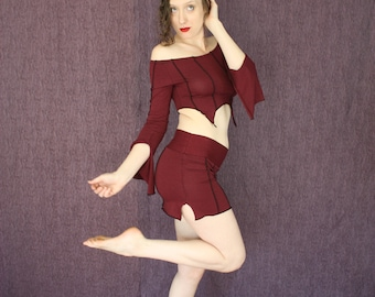 Verticle Striped Mini Skirt in Organic Port Red Fabric