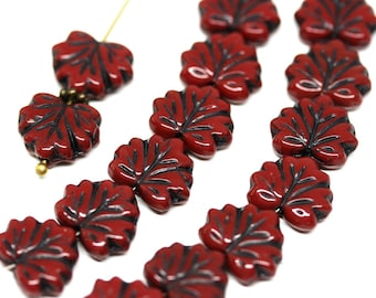 Red Black glass beads Red maple leaf bead Czech glass leaves Black inlays pressed leaf 11x13mm - 10Pc - 1217