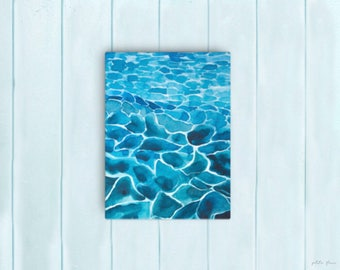 Watercolor Ocean Painting Abstract Canvas Print - Aqua Teal Blue Sea Coastal Beach Giclee Art Print - 8x10/11x14/12x16/16x20 - Paradiso