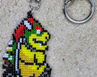 Bowser Mario Kart beaded 8 bit keychain/video games/retro games/backpack/Nintendo/geek/nerd/geek gift/pixel/charm